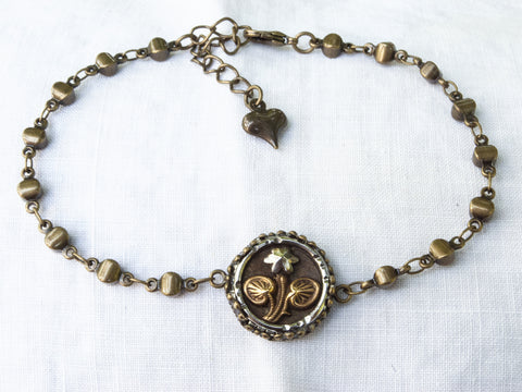 Antique Brass & Steel Cut Flower Button Bracelet