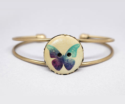 Butterfly Wood Button Cuff Bracelet