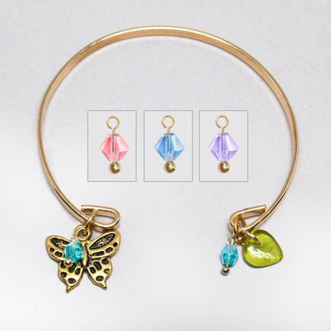 'Butterfly' gold tone open bracelet with Swarovski crystals