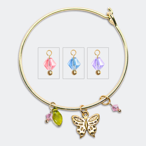 'Butterfly' gold tone bangle bracelet with Swarovski crystals