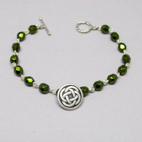 Celtic Knot Beaded Bracelet - Green