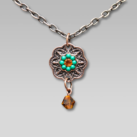 Copper & Turquoise Pendant Necklace