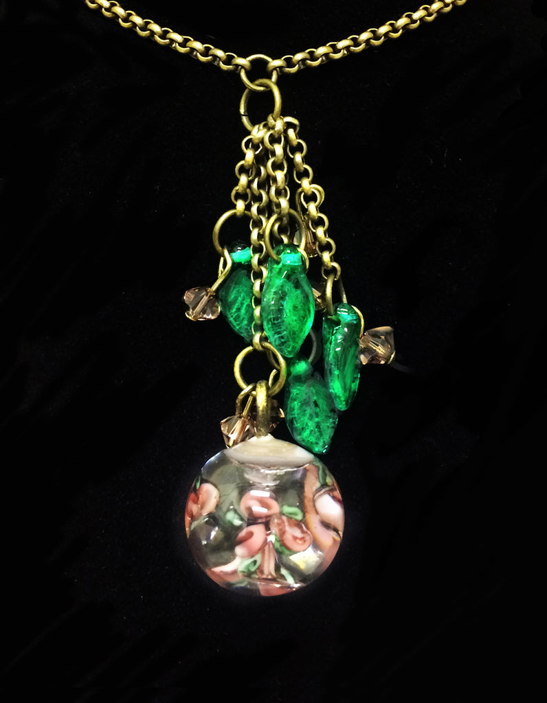 Czech Glass Rose Bead Pendant