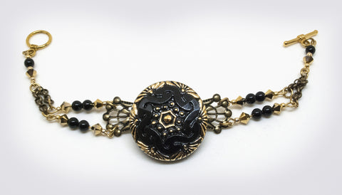 Opera Black Czech Glass Button Bracelet
