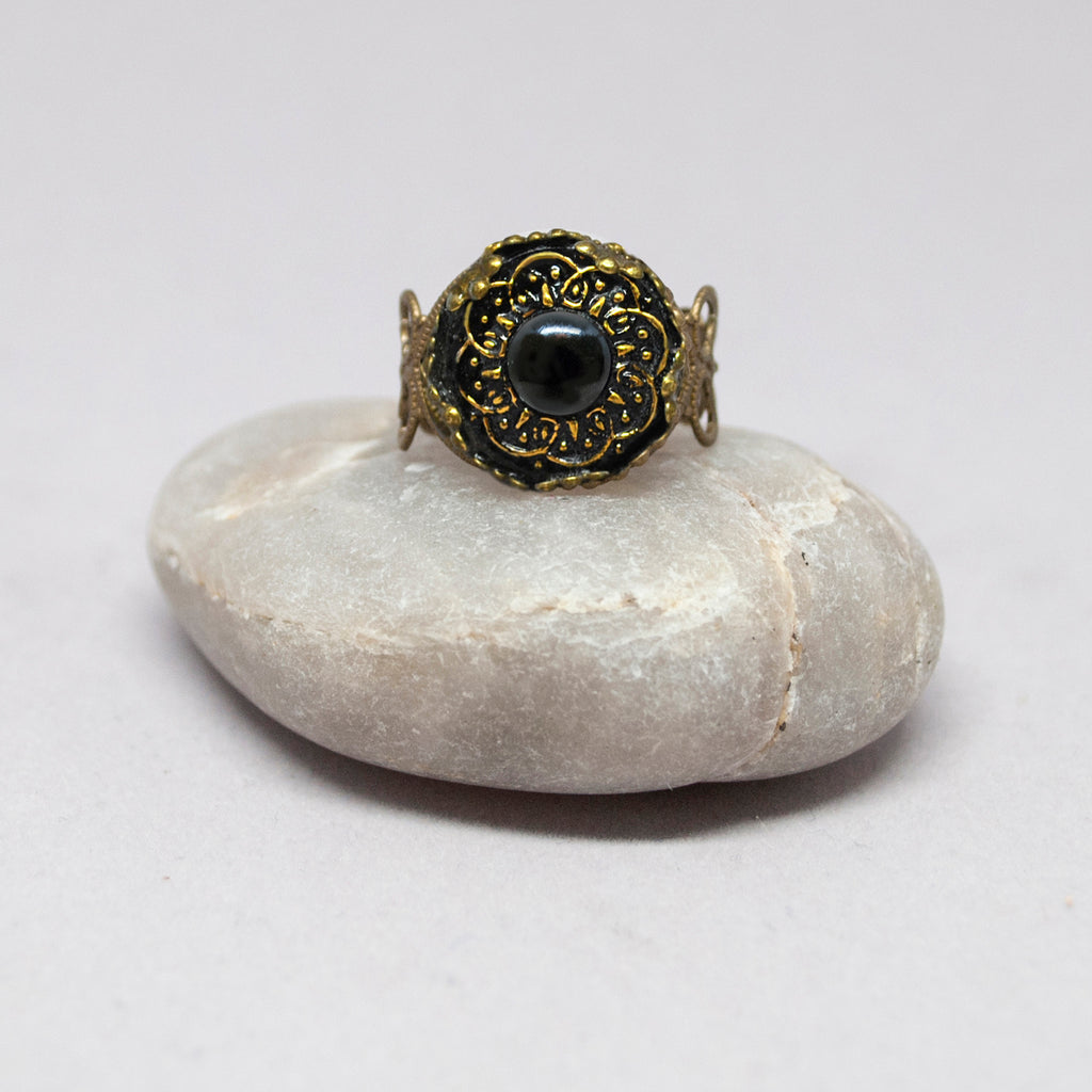 Czech Glass Black Bullseye Button Ring