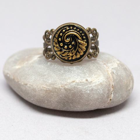 Czech Glass Black & Gold Button Ring