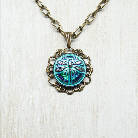 Czech Glass Dragonfly Chain Necklace