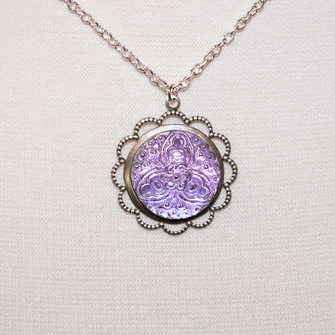 Czech Glass Floral Button Necklace