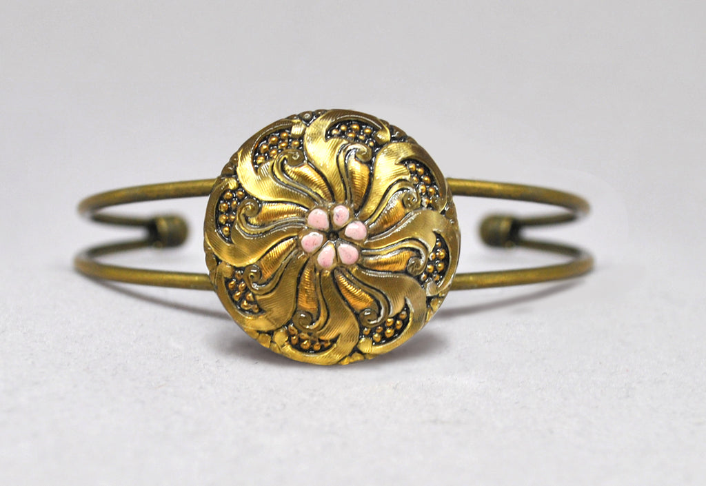 Czech Glass Gold Swirl Flower Button Wire Cuff