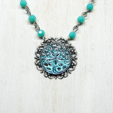 Czech Glass Ornate Button Necklace