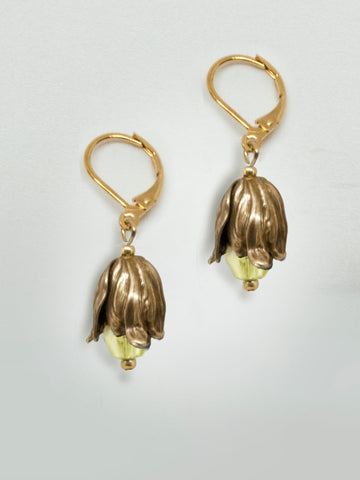 Dewdrop Teardrop Earrings - Yellow