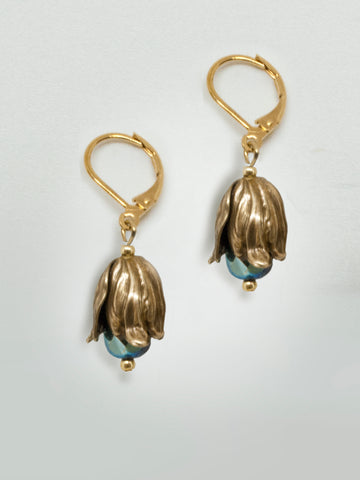 Dewdrop Teardrop Earrings - Bluegreen