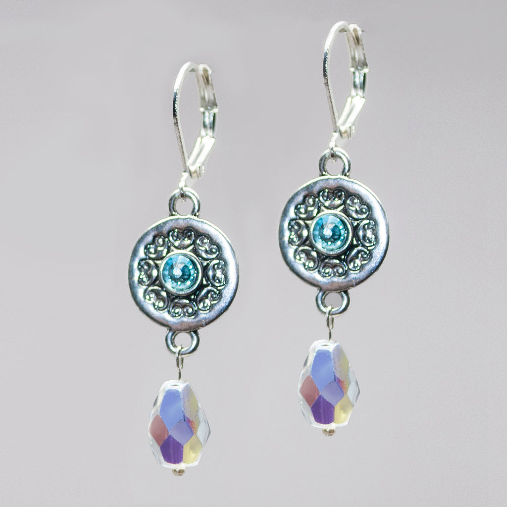 Embossed Disk Earrings - Blue