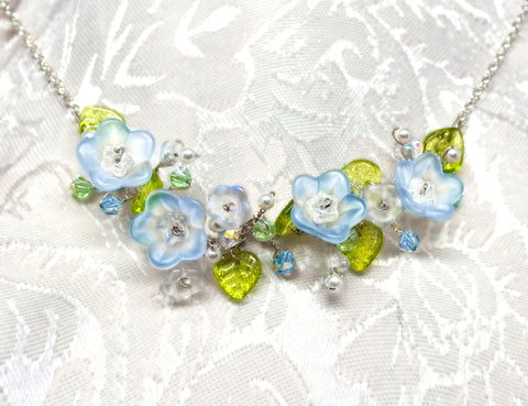 Flower Bridal Necklace - Blue