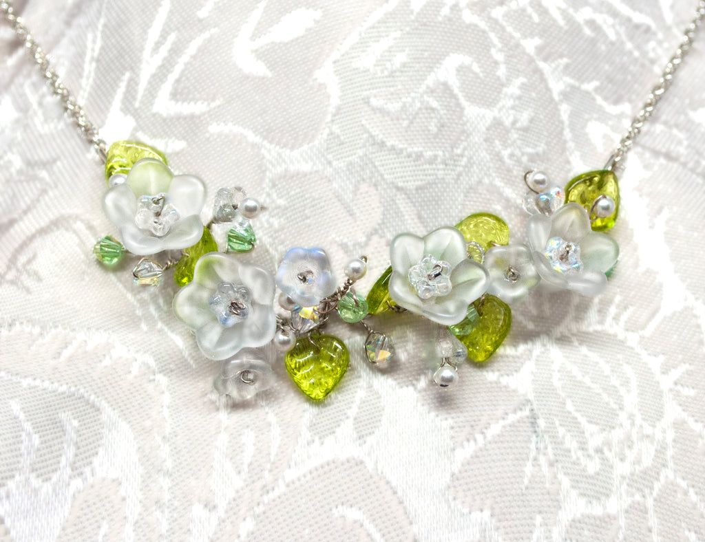 Flower Bridal Necklace - White