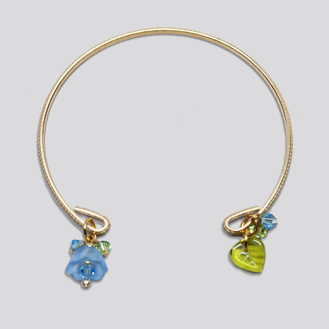 'Flower' (Blue) gold-tone open bracelet with Swarovski crystals