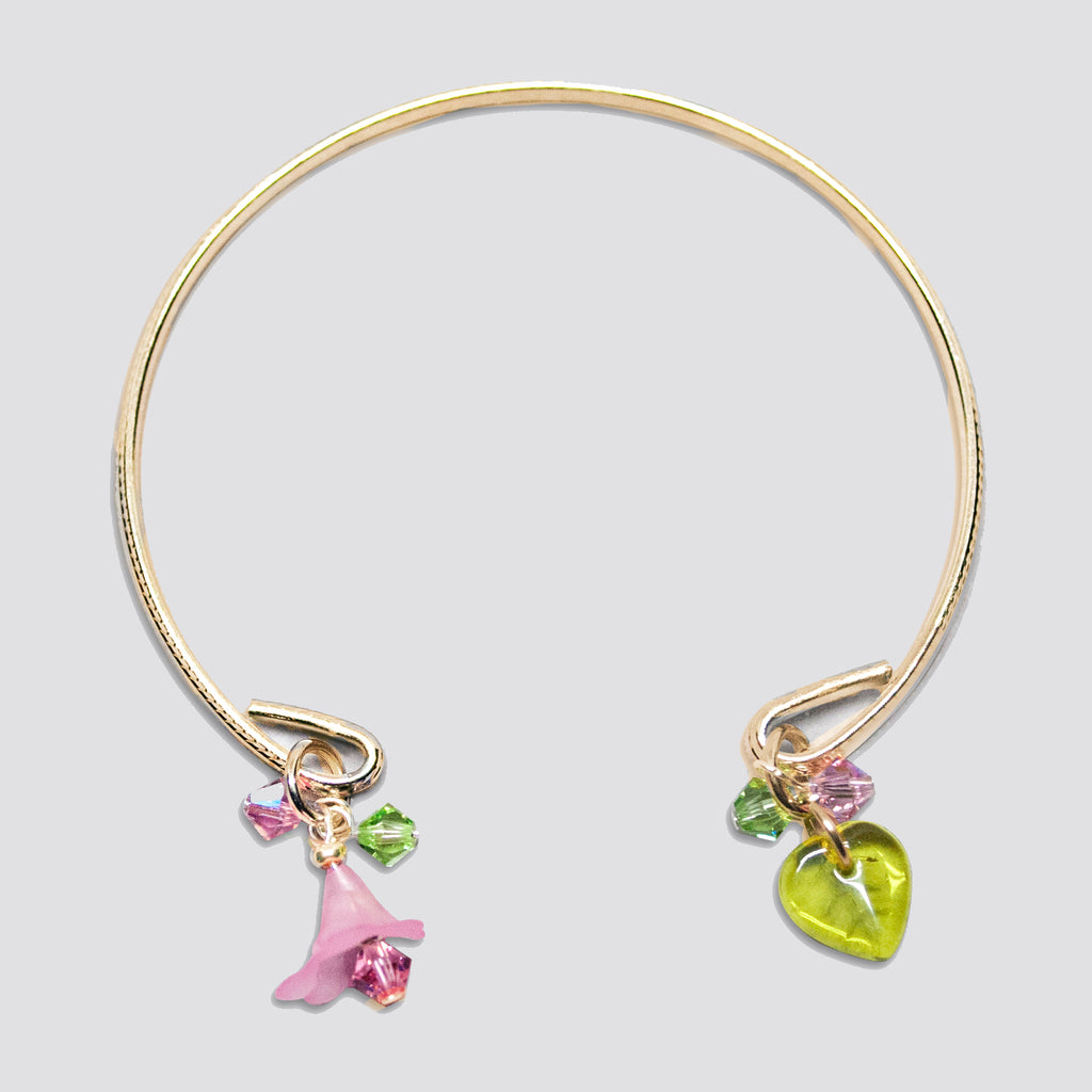 'Flower' (Pink) gold-tone open bracelet with Swarovski crystals
