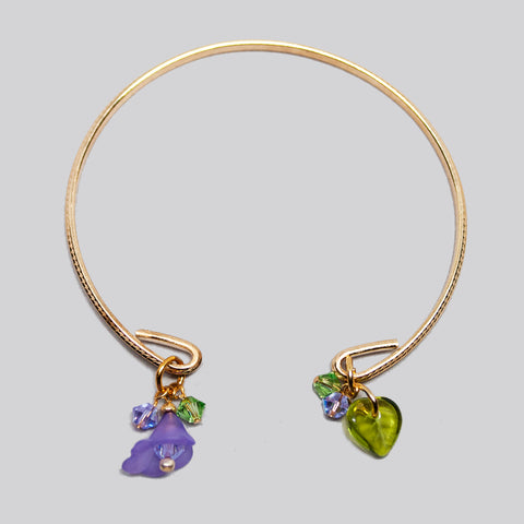 'Flower' (Purple) gold-tone open bracelet with Swarovski crystals