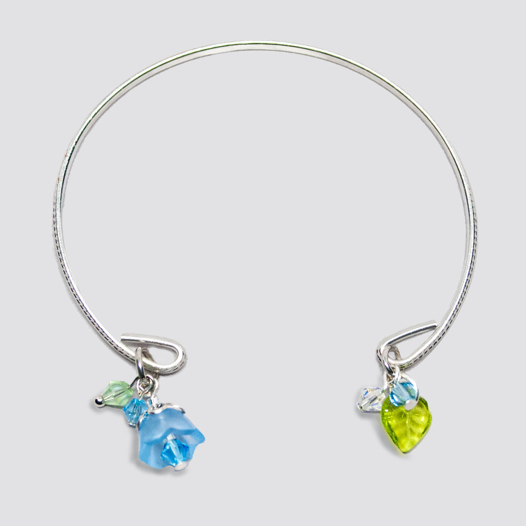 'Flower' (Blue) silver-tone open bracelet with Swarovski crystals