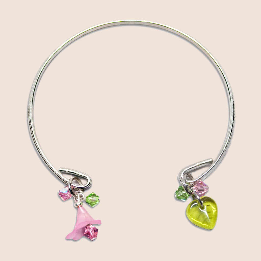 'Flower' (Pink) silver-tone open bracelet with Swarovski crystals