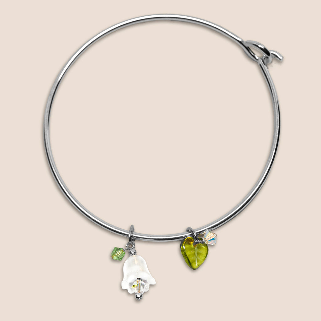 'Flower' (White) silver-tone bangle bracelet with Swarovski crystals
