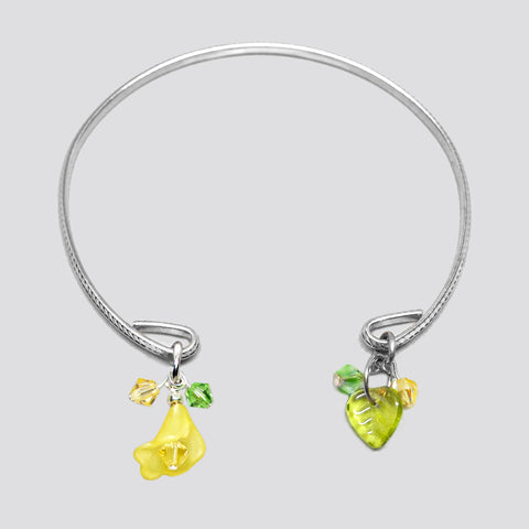 'Flower' (Yellow) silver-tone open bracelet with Swarovski crystals