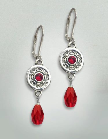 Garnet Crystal Silver Earrings