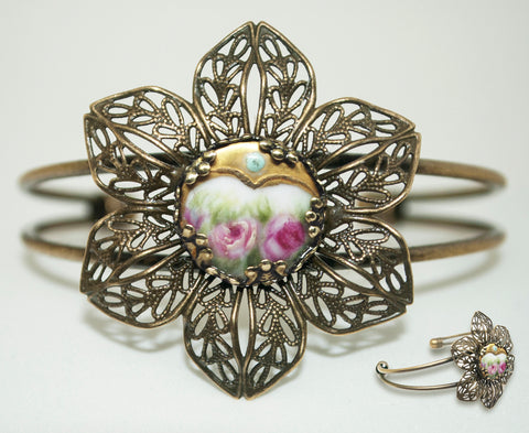 Gold Enamel Flower Button Cuff
