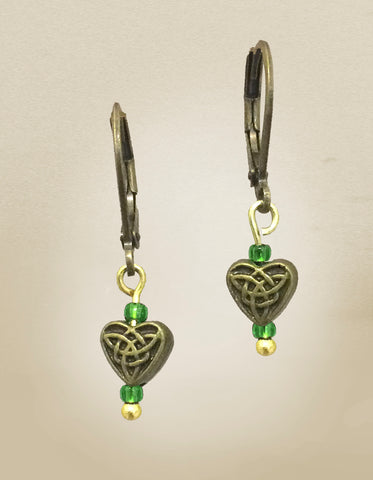 Green Celtic Heart Earrings