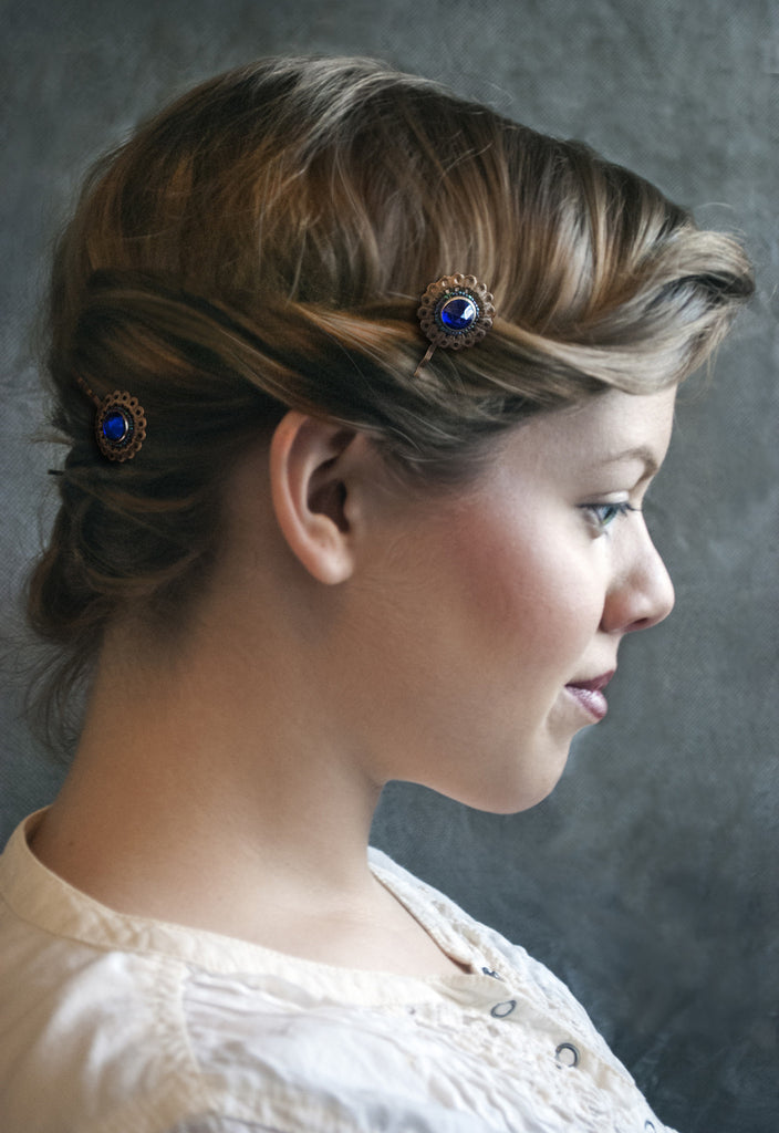 Cobalt Blue Sunburst Button Hairpins