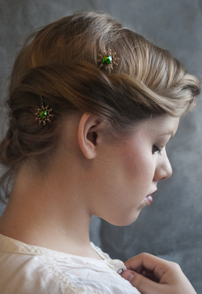 Emerald Glass Button Starburst Hairpins