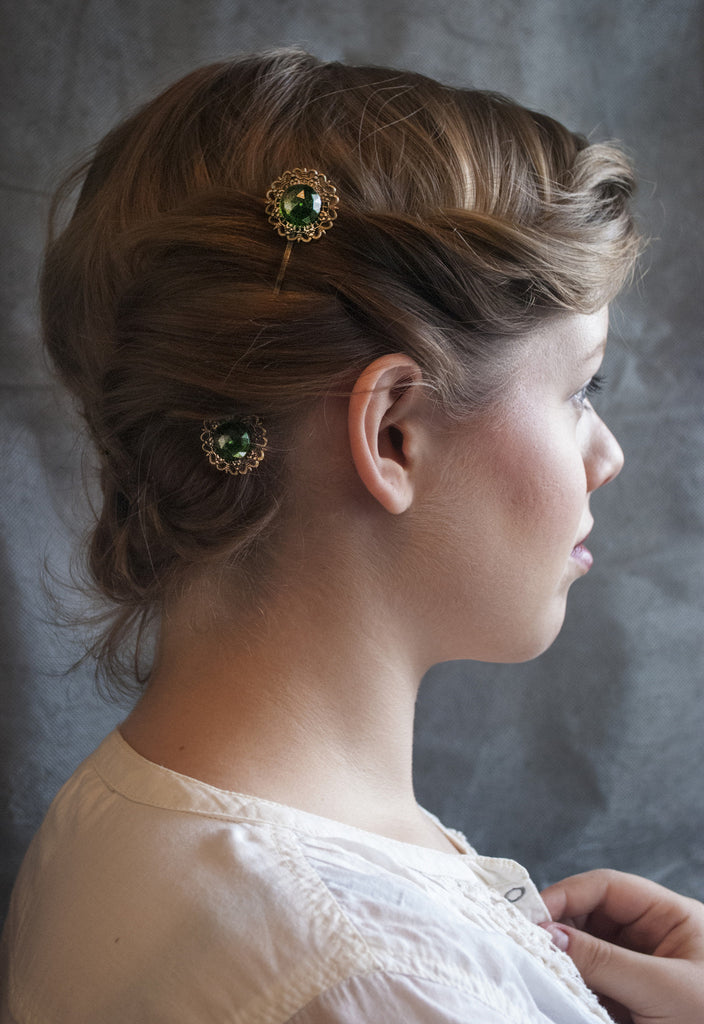 Emerald Victorian Lace Hairpins