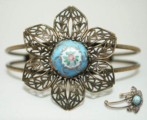 Hand Enameled Blue Flower Button Cuff