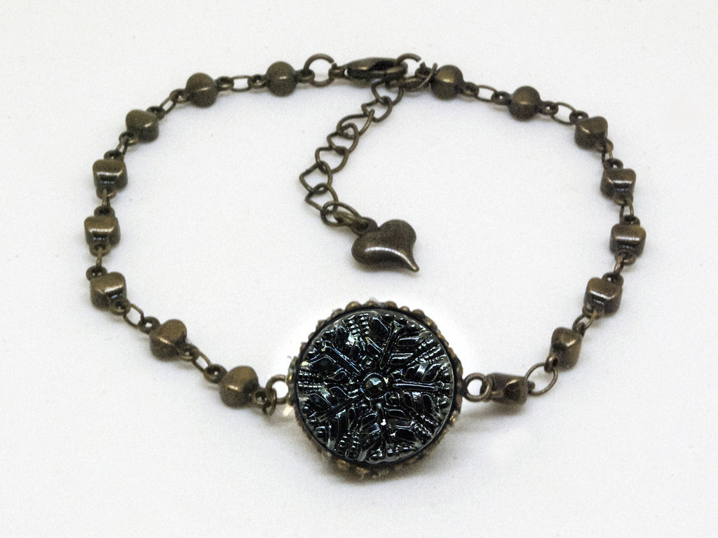 Intricate Antique Black Glass Button Bracelet