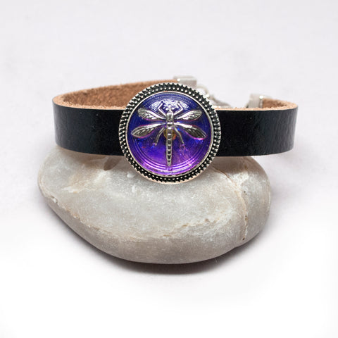 Leather Bracelet with Czech Blue-Violet Dragonfly Button - Silver
