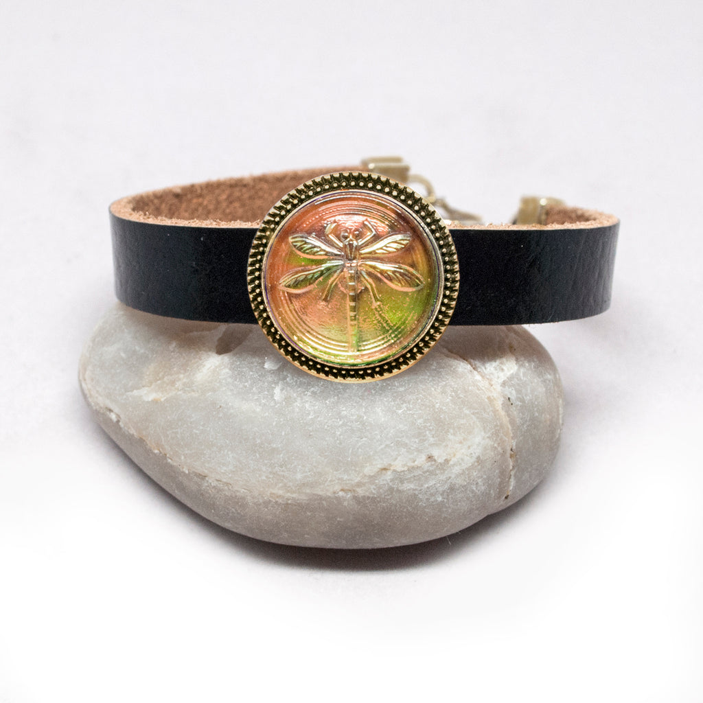 Leather Bracelet with Czech Peach-Green Dragonfly Button - Antiqued