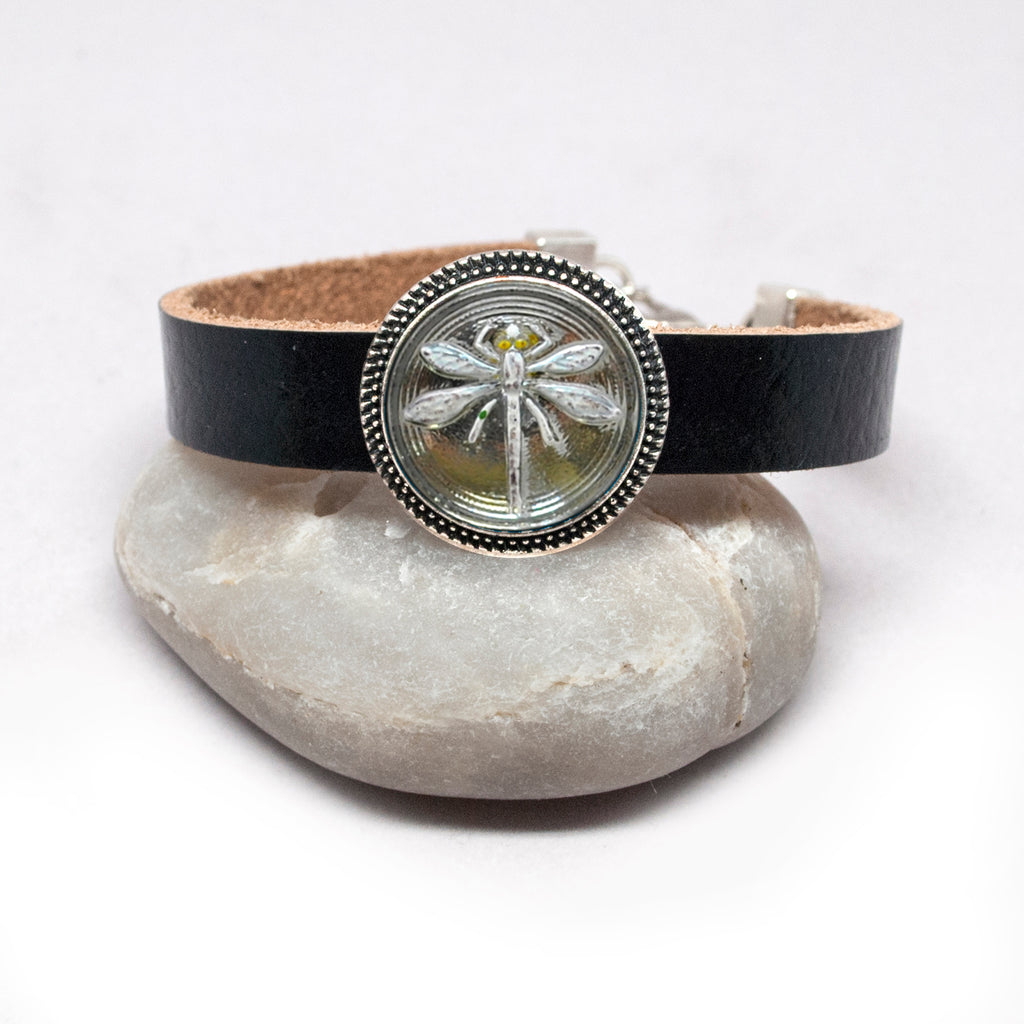 Leather Bracelet with Czech Silver-Grey Dragonfly Button