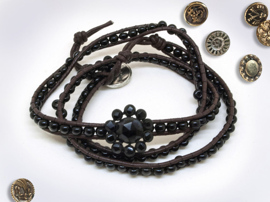 Black Bead Leather Wrap Bracelet