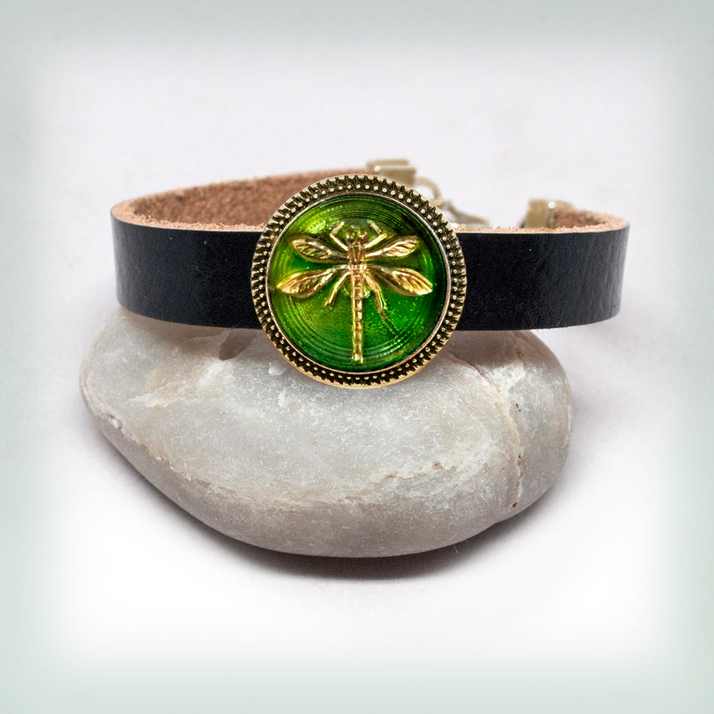 Leather Bracelet with Green Dragonfly