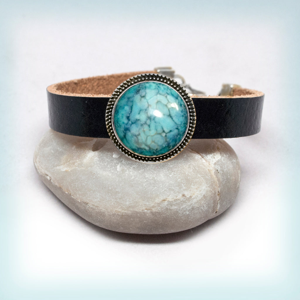 Leather Bracelet with Turquoise Cabochon