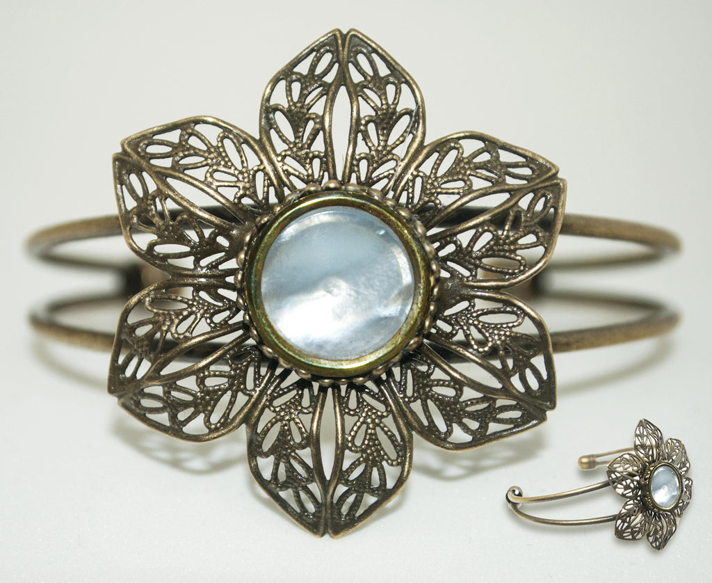 White Mother of Pearl Flower Wire Cuff