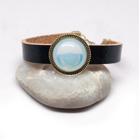 Opal Glass Button Leather Bracelet