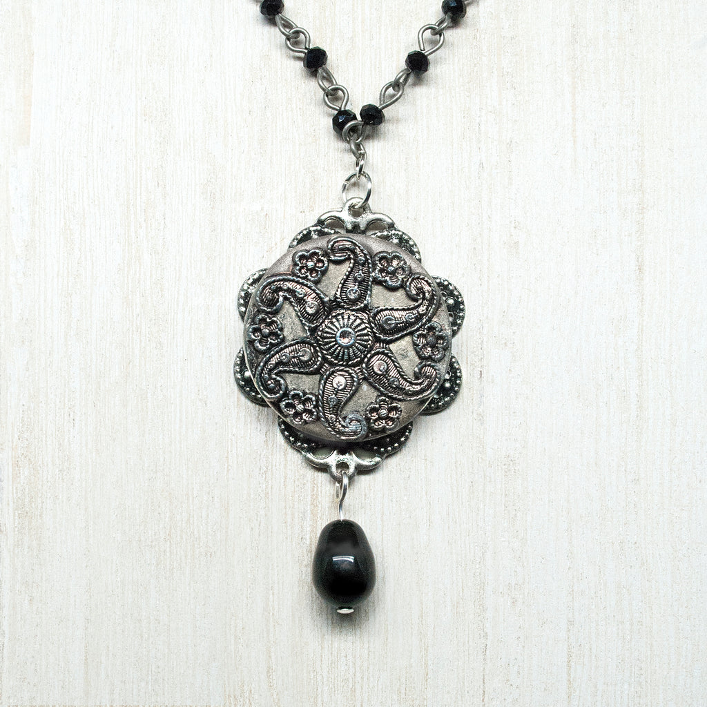 Ornate Pewter Paisley Button Necklace
