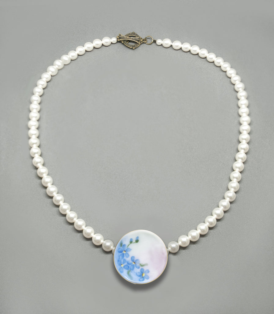 Pearl Choker - Forget-Me-Not Antique Porcelain Button