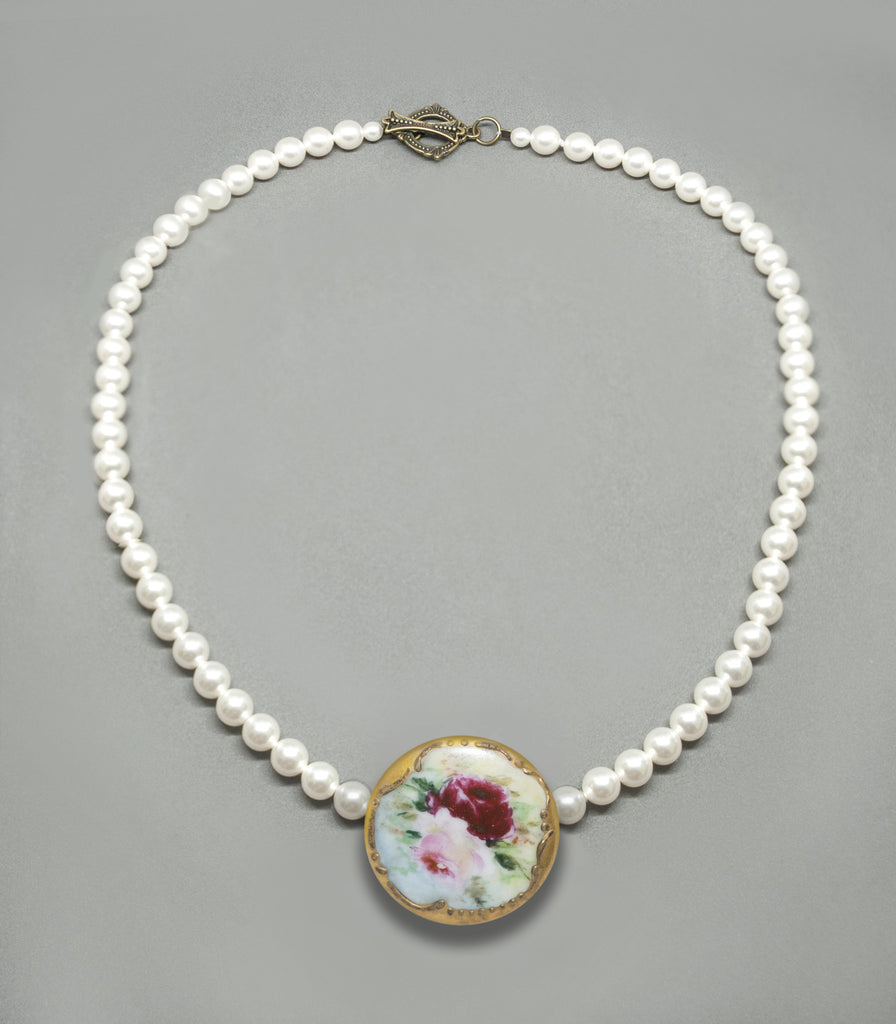 Pearl Choker - Two Rose Antique Porcelain Button