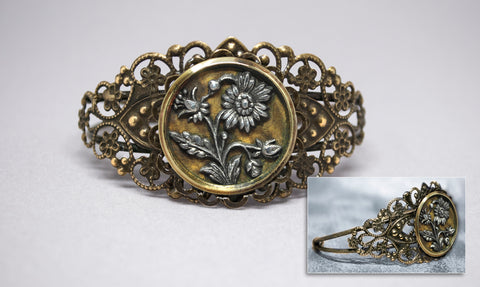 Pewter Flowers Button Cuff