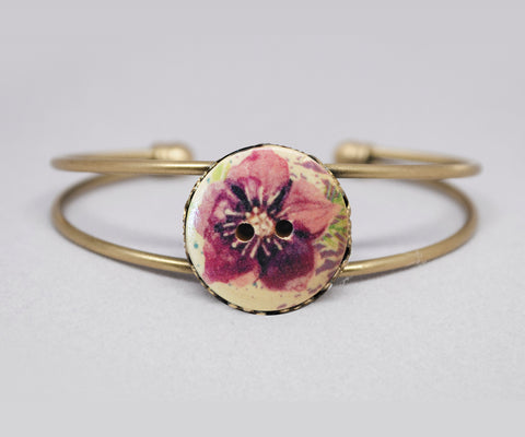 Pink Flower Wooden Button Cuff