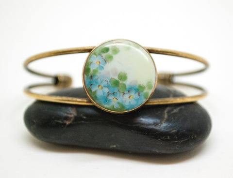 Porcelain Forget-Me-Not Button Wire Cuff