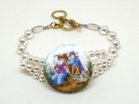 Antique Porcelain 'Lovers' Button Bracelet