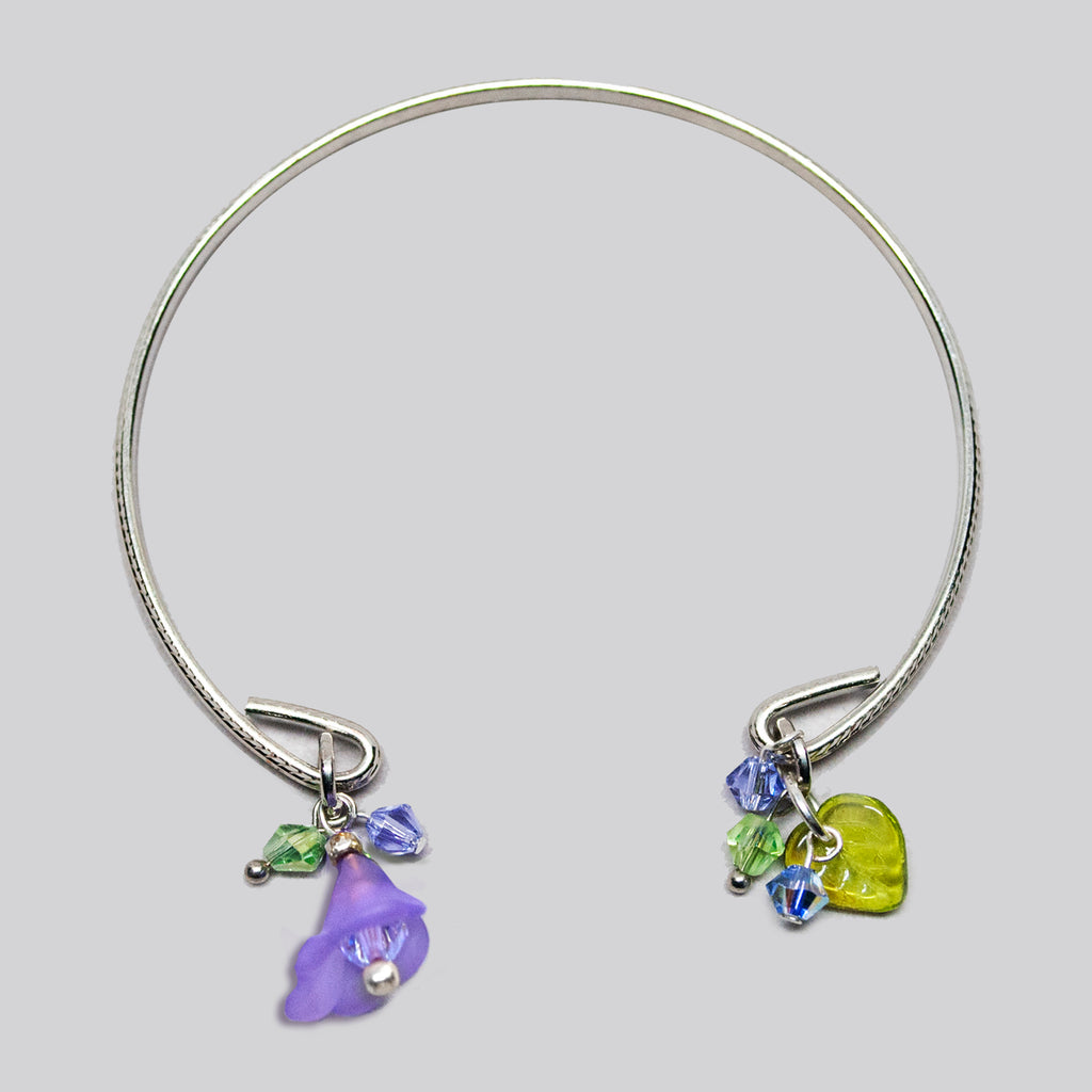 'Flower' (Purple) silver-tone open bracelet with Swarovski crystals